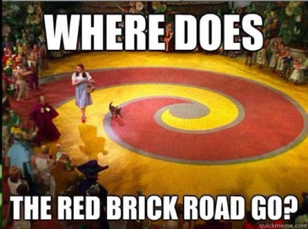 Where does the red brick road go? The Wizard of Oz